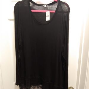 Long Sleeve Black Top with Lace Hem